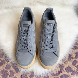 Adidas campus Gray with pale pink soles 6.5